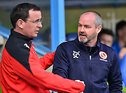 Reading's Manager Steve Clarke and Blackburn Rovers Manager Gary Bowyer during the Sky Bet Championship match between Reading and Blackburn Rovers at the Madejski Stadium, Reading, England on 11 April 2015. Photo by Mark Davies.
