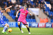 Hartlepool player Scott Harrison blocks a pass in the second half  during the EFL Sky Bet League 2 match between Colchester United and Hartlepool United at the Weston Homes Community Stadium, Colchester, England on 25 February 2017. Photo by Ian  Muir.