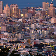 View of downtown San Francisco from Twin Peaks Summit at dusk.
