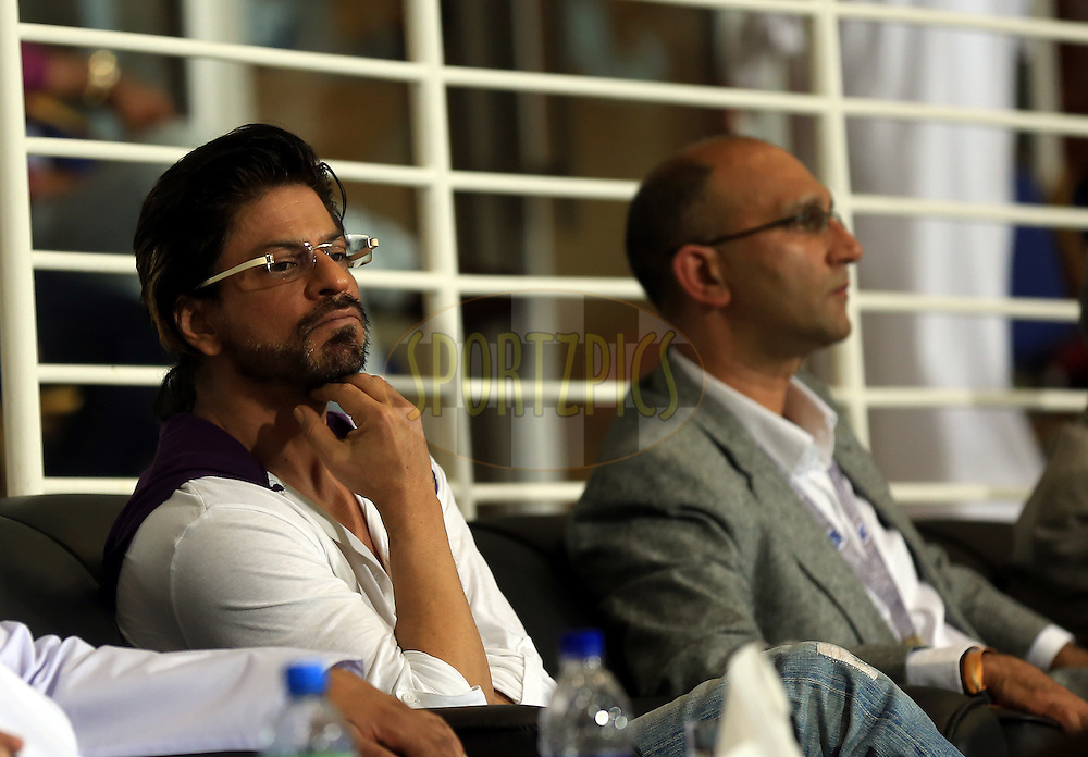 Sharaukh Khan owner of Kolkatta Knight Riders during match 19 of the Pepsi Indian Premier League 2014 Season between The Kolkata Knight Riders and the Rajasthan Royals held at the Sheikh Zayed Stadium, Abu Dhabi, United Arab Emirates on the 29th April 2014<br /> <br /> Photo by Sandeep Shetty / IPL / SPORTZPICS