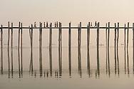 U Bien's bridge across Taungthaman Lake, Amarapura, Myanmar