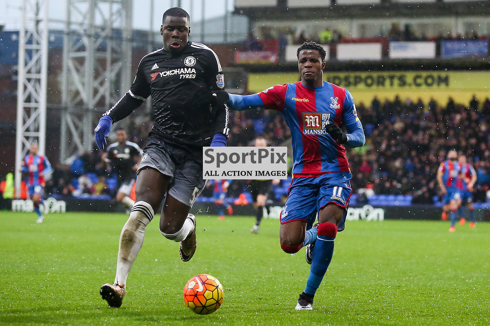 Kurt Zouma fends off pressure from Wilfried Zaha During Crystal Palace vs Chelsea Sunday 3rd January 2016