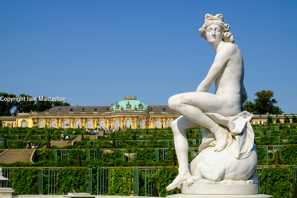 Statues in garden of Sanssouci Palace in Potsdam, Germany