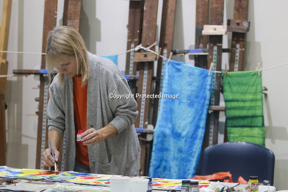 """Nancy Bryan paints a quilt square during """"Create Your Own Quilt Squares"""" Sunday November 23, 2014 at the Cameron Art Museum in Wilmington, N.C. (Jason A. Frizzelle)"""