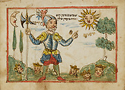 Joshua from 18th century Hebrew Manuscript Tefilot u-piyuṭim (Prayers and songs) illuminated colour manuscript by Mordo, Eliʻezer;