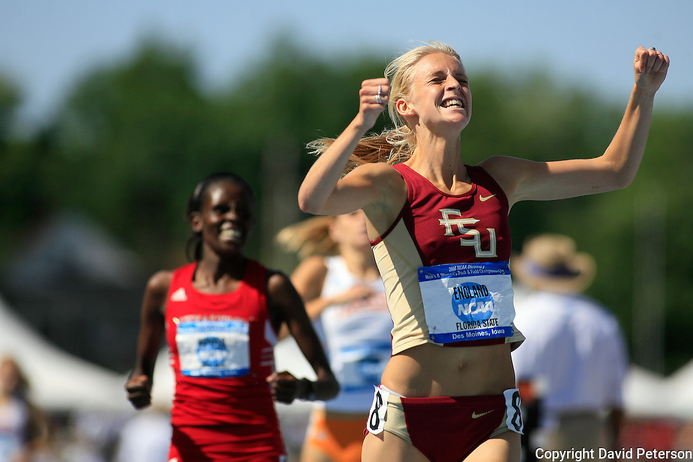 14 June, 2008:  Florida State's Hannah England was jubilant as she won the 1500 meters at the NCAA Division 1 Men's and Women's Track & Field Championships in Des Moines, Iowa.   David Peterson