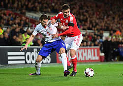Hal Robson-Kanu of Wales battles for the ball with Matija Nastasic of Serbia - Mandatory by-line: Alex James/JMP - 12/11/2016 - FOOTBALL - Cardiff City Stadium - Cardiff, United Kingdom - Wales v Serbia - FIFA European World Cup Qualifiers