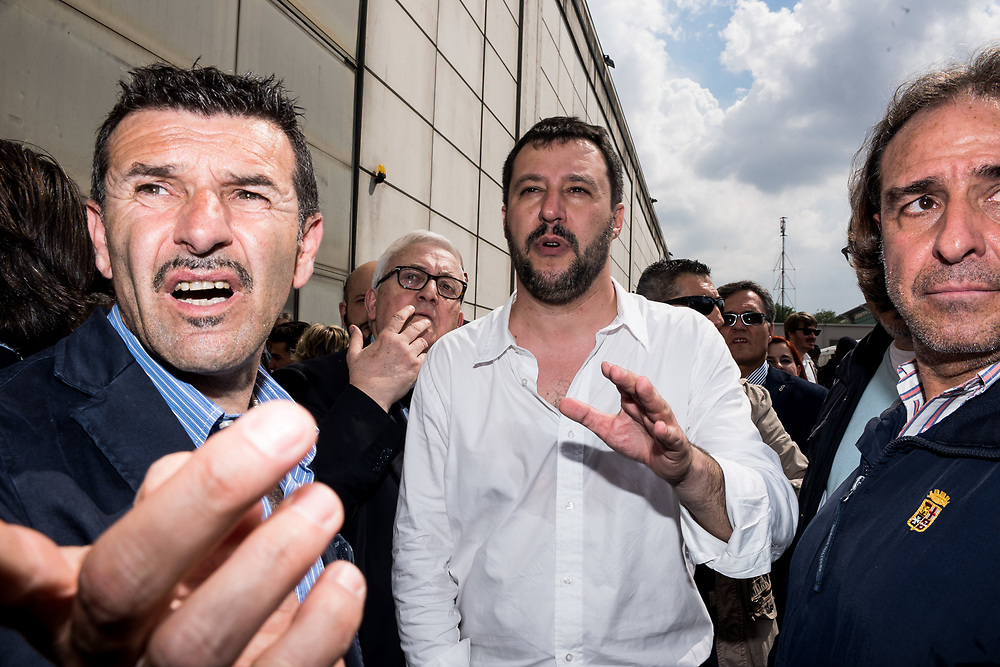Turin, Italy - 14-05-2016: Matteo Salvini, leader of the anti-migrant and federalist Northern League (Lega Nord), arrives at the International Book Fair in Turin