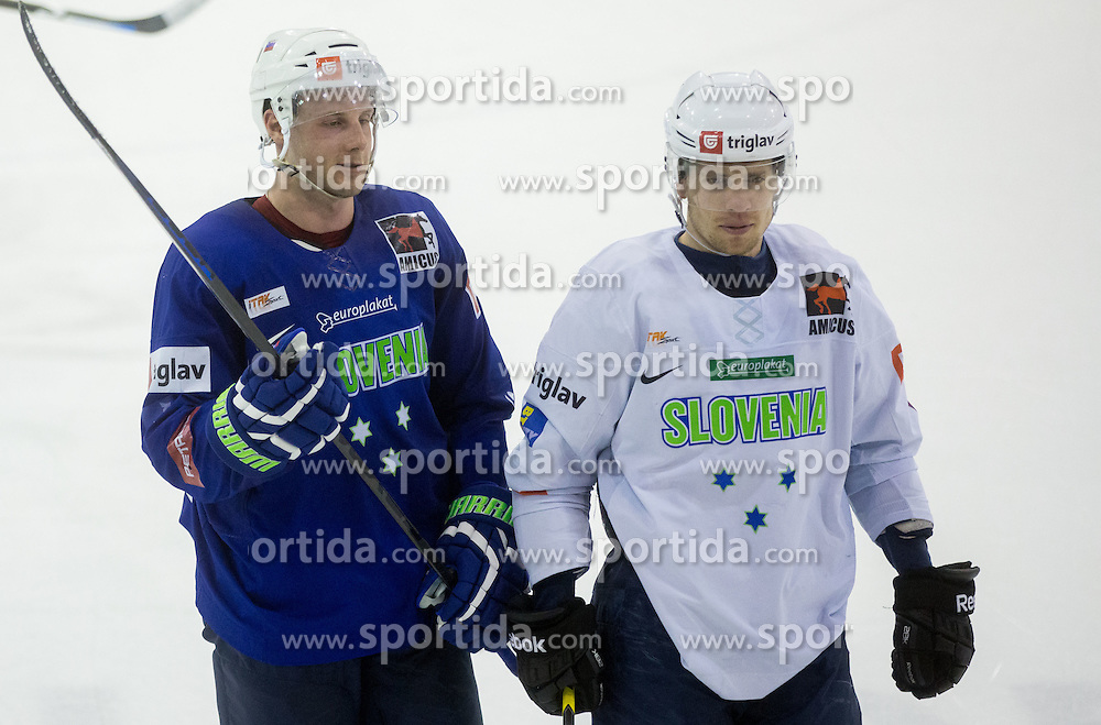 Jan Mursak and Ales Music during practice session of Slovenian National Ice Hockey Team prior to the IIHF World Championship in Ostrava (CZE), on April 21, 2015 in Hala Tivoli, Ljubljana, Slovenia. Photo by Vid Ponikvar / Sportida