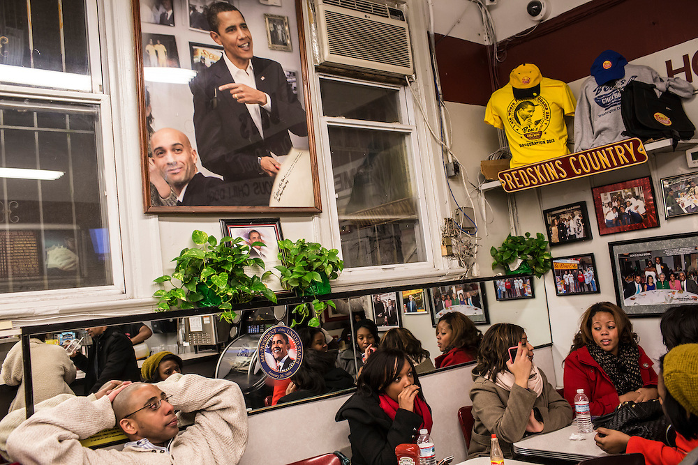 Customers at Ben's Chili Bowl, a local institution which President Barack Obama has visited, on Monday, January 21, 2013 in Washington, DC.