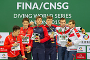 Tom Daley of Great Britain and Matty Lee of Great Britain (Gold Medal), Alekandr Bondar of Russia and Viktor Minibaev of Russia (Silver), Yani Chang of China and Hao Yang of China (Bronze) during the FINA/CNSG Diving World Series 2019 at London Aquatics Centre, London, United Kingdom on 17 May 2019.