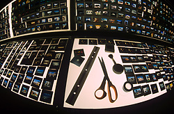 Stock photo of tools and slides out on a large light table