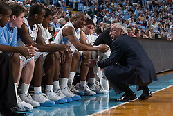 28 December 2006: North Carolina Tarheel head coach Roy Williams speaks to his bench during a 87-48 Rutgers Scarlet Knights loss to the North Carolina Tarheels, in the Dean Smith Center in Chapel Hill, NC.<br />