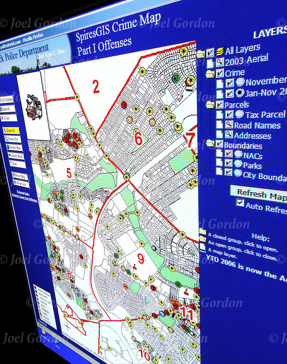 Frederick Police Department MD  Multiple overlays GIS Crime Map Part I Offenses
