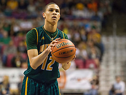 Huntington forward Anthony Meadows (12) shoots a free throw against Parkersburg South during the Class AAA championship game at the Charleston Civic Center.
