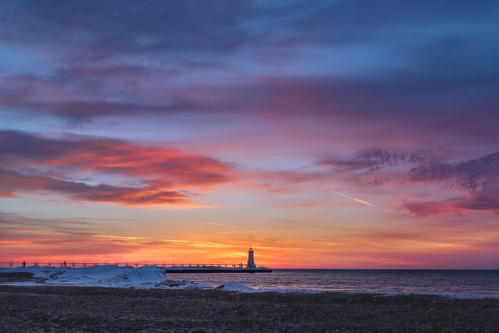 An explosion of color as the sun sets over Lake Michigan.