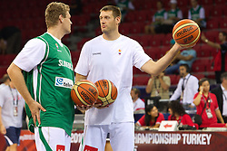 Miha Zupan and Goran Jagodnik of Slovenia prior to the Preliminary Round - Group B basketball match between National teams of USA and Slovenia at 2010 FIBA World Championships on August 29, 2010 at Abdi Ipekci Arena in Istanbul, Turkey.  (Photo by Vid Ponikvar / Sportida)