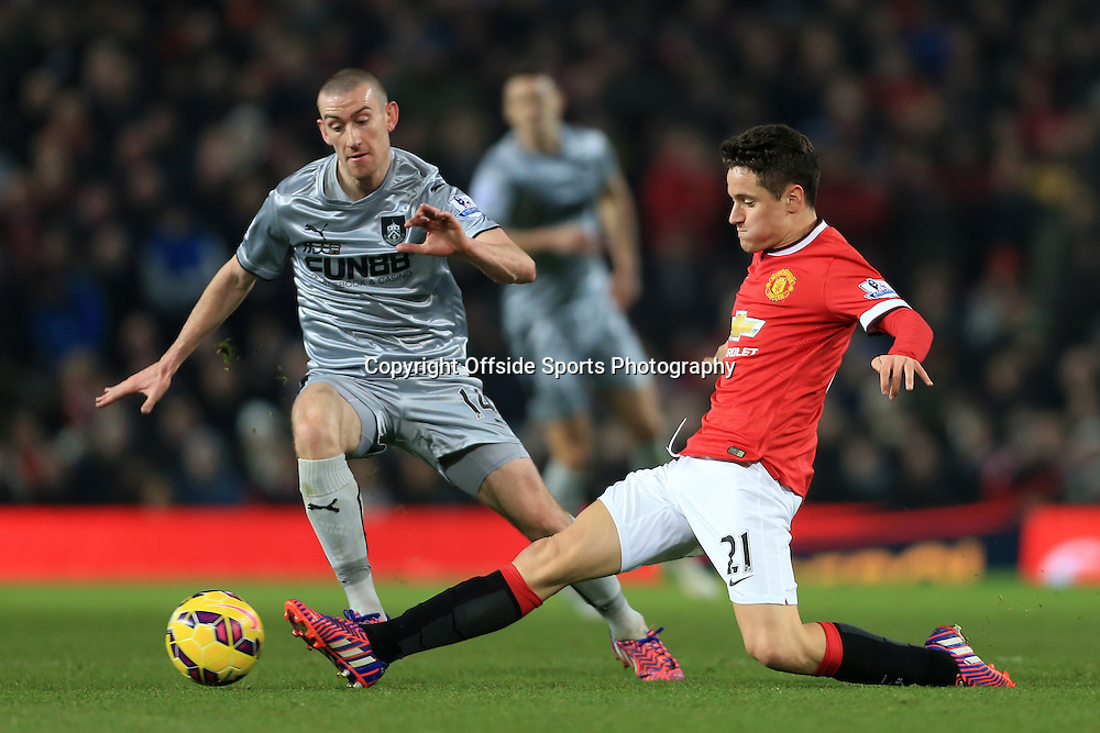 11th February 2015 - Barclays Premier League - Manchester United v Burnley - Ander Herrera of Man Utd battles with David Jones of Burnley - Photo: Simon Stacpoole / Offside.