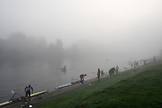 Boston, United Kingdom,  Misty condition at the boating pontoon, GB Rowing Team October 5km Time Trial, on Sunday  01/11/2015  River Witham,  Lincolnshire <br /> <br /> [Mandatory Credit: Peter SPURRIER: Intersport Images]