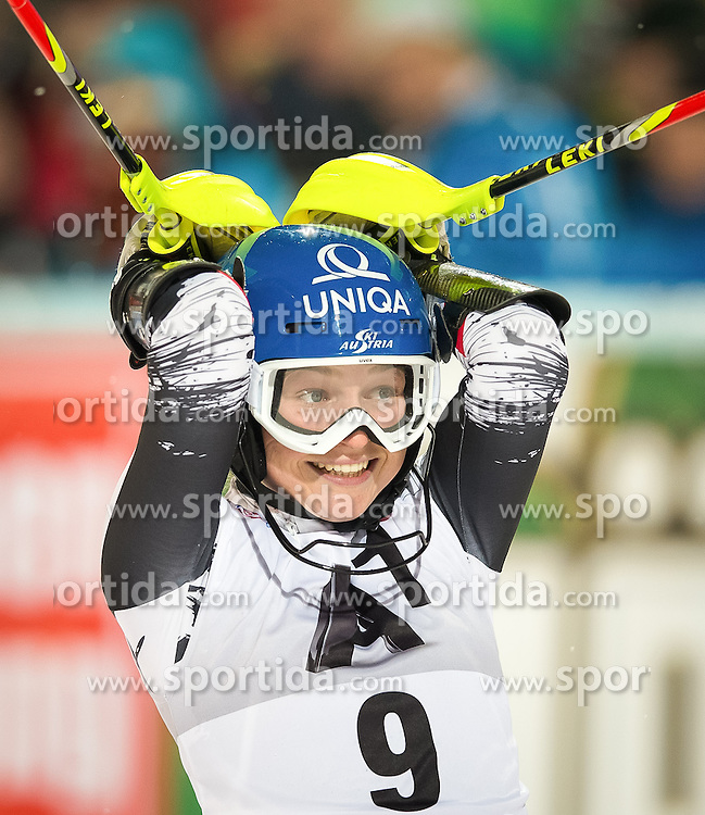 14.01.2014, Hermann Maier Weltcupstrecke, Flachau, AUT, FIS Weltcup Ski Alpin, Slalom, Damen, 2. Durchgang, im Bild Bernadette Schild (AUT) // Bernadette Schild of Austria reacts in the finish area after her 2nd run of the ladies Slalom of the FIS Ski Alpine World Cup at the Hermann Maier World Cup course in Flachau, Austria on 2014/01/14. EXPA Pictures © 2013, PhotoCredit: EXPA/ Johann Groder