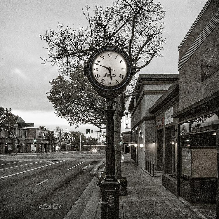 The Stedman Clock along Harbor Blvd in downtown Fullerton, CA.