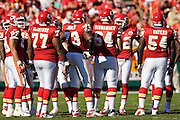 KANSAS CITY, MO - NOVEMBER 2:  Offense of the Kansas City Chiefs huddles together during a game against the Tampa Bay Buccaneers at Arrowhead Stadium on November 2, 2008 in Kansas City, Missouri.  The Bucaneers defeated the Chiefs 30-27 in overtime.  (Photo by Wesley Hitt/Getty Images) *** Local Caption ***