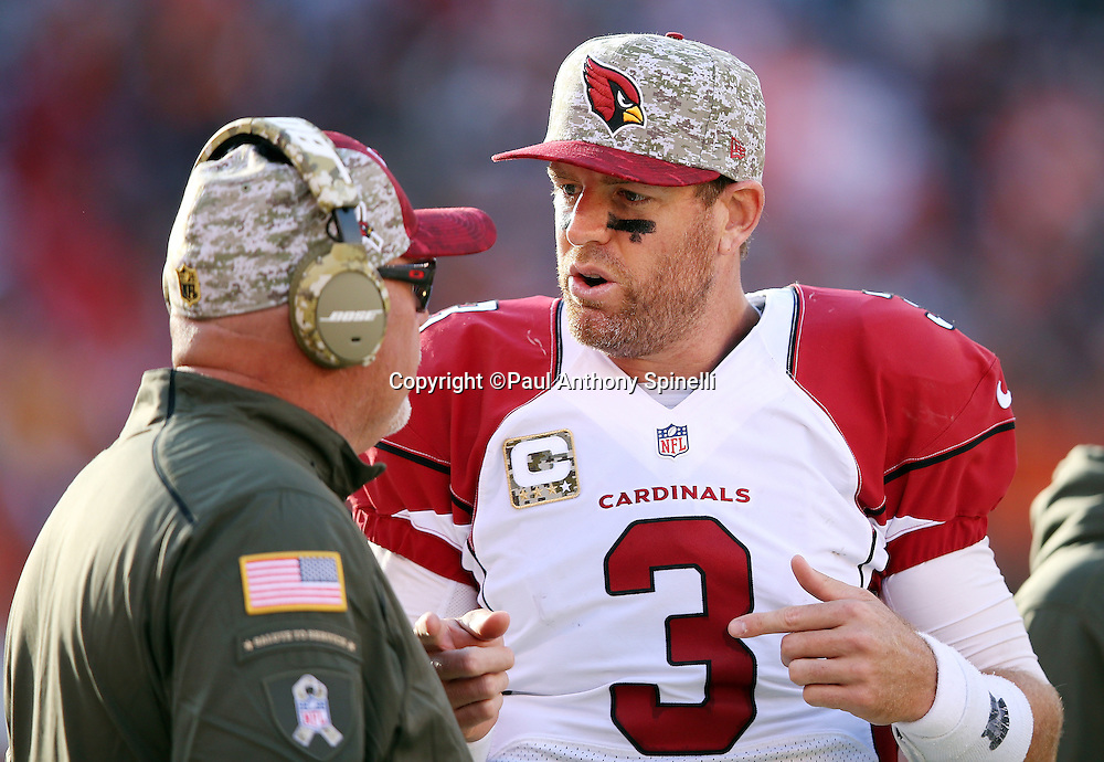 Arizona Cardinals quarterback Carson Palmer (3) talks to Arizona Cardinals head coach Bruce Arians on the sideline during the 2015 week 8 regular season NFL football game against the Cleveland Browns on Sunday, Nov. 1, 2015 in Cleveland. The Cardinals won the game 34-20. (©Paul Anthony Spinelli)
