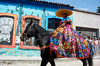 Ajijic, Jalisco State, Mexico. 13 February, 2018. Mardi Gras Festival and Parade, Parade Queen riding a horse. Peter Llewellyn/Alamy Live News