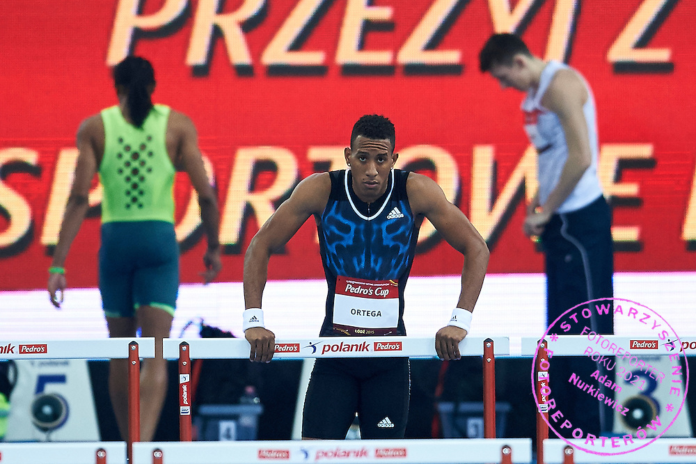 Orlando Ortega from Cuba competes in men's 60 meters hurdles competition during athletics meeting Pedro's Cup at Atlas Arena in Lodz, Poland.<br /> <br /> Poland, Lodz, February 17, 2015<br /> <br /> Picture also available in RAW (NEF) or TIFF format on special request.<br /> <br /> For editorial use only. Any commercial or promotional use requires permission.<br /> <br /> Adam Nurkiewicz declares that he has no rights to the image of people at the photographs of his authorship.<br /> <br /> Mandatory credit:<br /> Photo by &copy; Adam Nurkiewicz / Mediasport