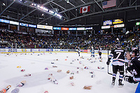 KELOWNA, CANADA - DECEMBER 5: Teddy Bears land on the ice after the Kelowna Rockets score the first goal against the Portland Winterhawks on December 5, 2015 at Prospera Place in Kelowna, British Columbia, Canada.  (Photo by Marissa Baecker/Shoot the Breeze)  *** Local Caption *** Teddy Bears;