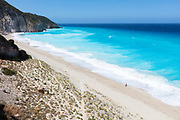 Greek beach with azure sea and white sands