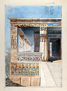 Watercolour of part of an Ancient  Egyptian  temple.  Nestor l'Hote (1804-1842) French Egyptologist. Archaeology Religion