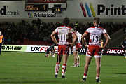 H Purdy & H Trinder look on during the Aviva Premiership match between Sale Sharks and Gloucester Rugby at the AJ Bell Stadium, Eccles, United Kingdom on 29 September 2017. Photo by George Franks.