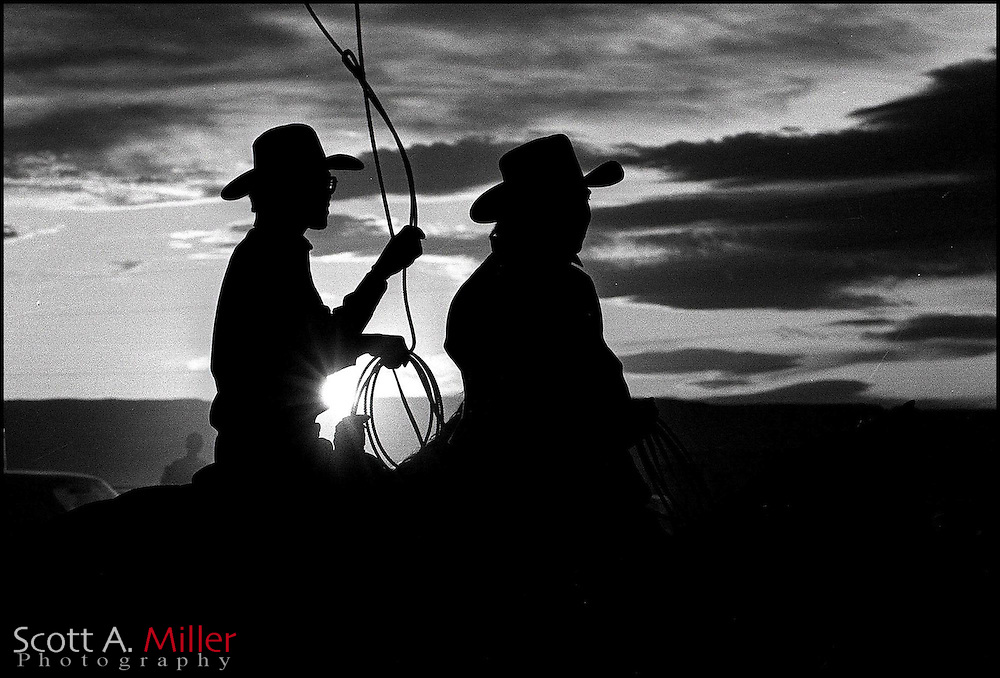 Cowboys get ready for there event at a rodeo in Gallup, New Mexico.