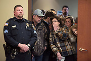 PEWAUKEE, WI-FEB. 11, 2017: Rep. Jim Sensenbrenner holds a town hall meeting at the Pewaukee Public Library in Pewaukee, WI Sat. Feb. 11, 2017. The room hit max capacity and the overflow of people waited in the building's lobby. Lauren Justice for The New York Times