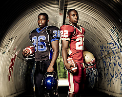 Cane Bay's Darius Warren and Ashley Ridge's Romelo Doctor shot for the front cover of the 2010 Journal Scene Football Preview.