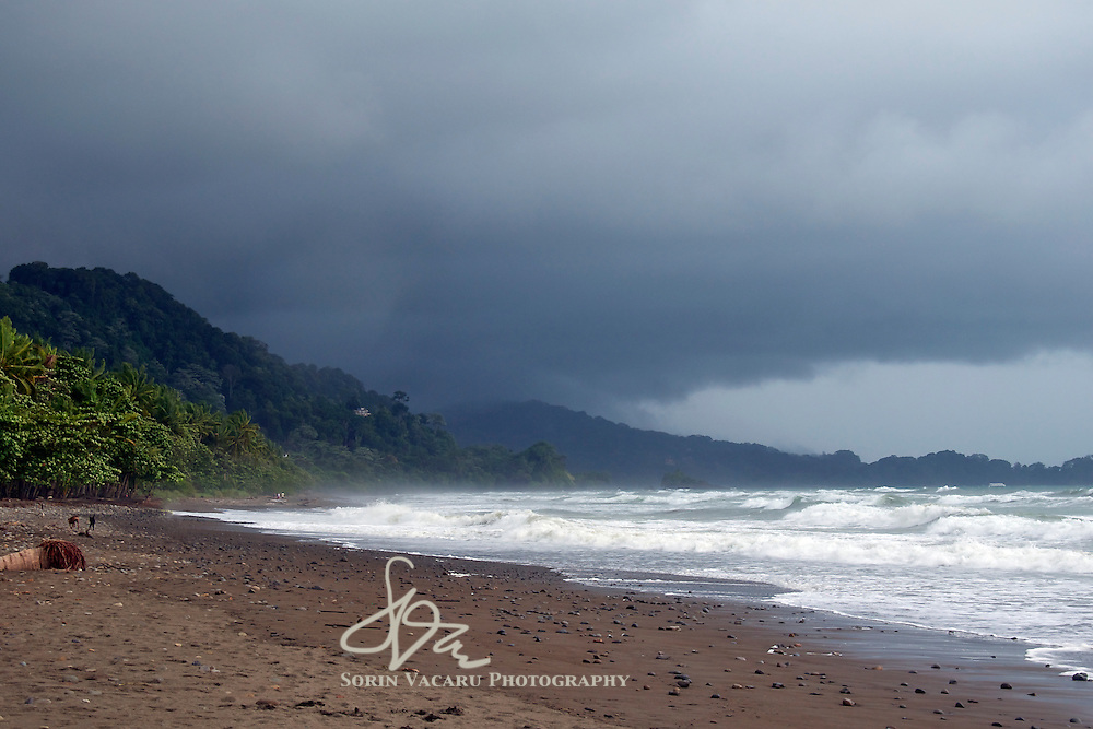 Playa Dominical during a heavy summer downpour.