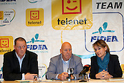 BELGIUM / BELGIQUE / BELGIE / LICHTAART / CYCLING / CYCLISME / WIELRENNEN / CYCLOCROSS / VELDRIJDEN / CYCLO-CROSS / TELENET - FIDEA CYCLING TEAM / TELENET FIDEA CYCLING TEAM / PRESS CONFERENCE / PERSCONFERENTIE / (L-R) JEROEN LEEN (TELENET) / HANS VAN KASTEREN (MANAGER TFCT) / CHRISTEL MICHIELS (FIDEA) /