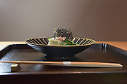 Chilled eggplant with polka-dot cucumber (nori-fu, myoga, shiso yuzu) at Kajitsu, 125 E. 39th St., New York.