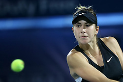 DUBAI-, Feb. 24, 2019  Belinda Bencic of Switzerland returns the shot during the women's singles final match between Belinda Bencic of Switzerland and Petra Kvitova of the Czech Republic at Dubai Duty Free Tennis WTA Championships 2019 in Dubai, the United Arab Emirates, Feb. 23, 2019. Belinda Bencic won 2-1 and claimed the title. (Credit Image: © Xinhua via ZUMA Wire)