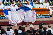 "10 JANUARY 2007 - MANAGUA, NICARAGUA:  Nicaraguan folk dancers perform at the inauguration of Daniel Ortega in Managua. Ortega, the leader of the Sandanista Front, was sworn in as the President of Nicaragua Wednesday. Ortega and the Sandanistas ruled Nicaragua from their victory of ""Tacho"" Somoza in 1979 until their defeat by Violetta Chamorro in the 1990 election.  Photo by Jack Kurtz"