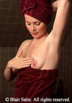 Medical Medical Testing, Self-test for Breast Cancer, Female  Examines Breasts for Cancer, Breast Cancer Self-Examination Gynecologist, Gynecology