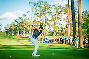 Rory McIlroy tees off at the 17th hole during the 2016 Masters Tournament at Augusta National Golf Club on Thursday, April 6 2016. Photograph © 2016 Darren Carroll, for Sports Illustrated
