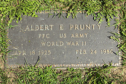 31 August 2017:   Veterans graves in Park Hill Cemetery in eastern McLean County.<br /> <br /> Albert E Prunty  Private First Class  US Army  World War II  Apr 18 1925  Feb 24 1986