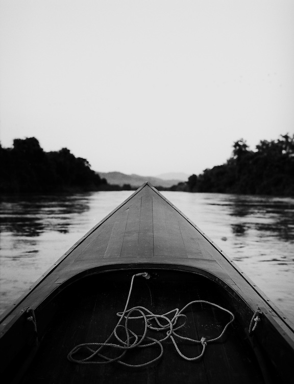Boat on the Ruak River separating Thailand and Burma