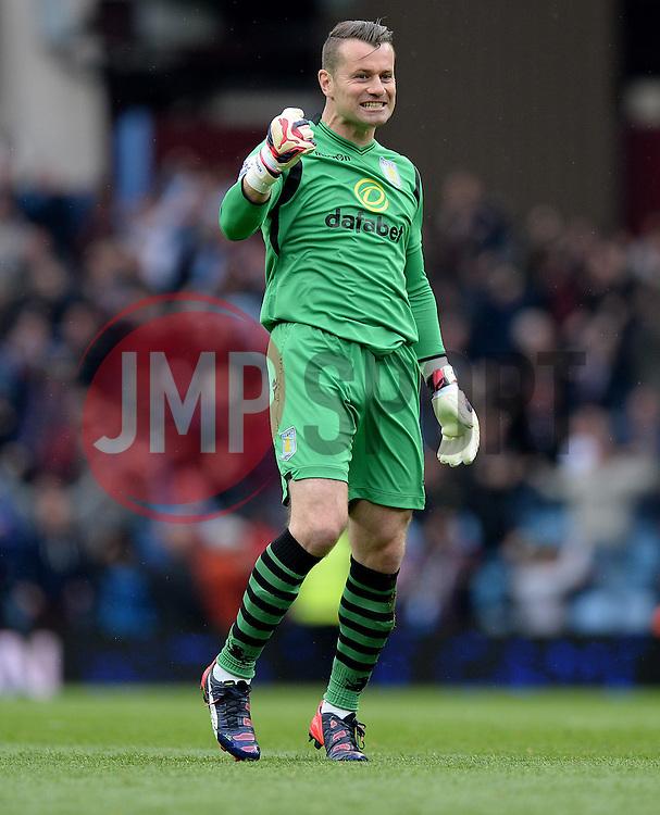 caption correction* Aston Villa's Shay Given celebrates. - Photo mandatory by-line: Alex James/JMP - Mobile: 07966 386802 - 02/05/2015 - SPORT - Football - Birmingham - Villa Park - Aston Villa v Everton - Barclays Premier League