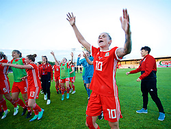 NEWPORT, WALES - Tuesday, June 12, 2018: Wales' Jessica Fishlock celebrates after beating Russia 3-0 during the FIFA Women's World Cup 2019 Qualifying Round Group 1 match between Wales and Russia at Newport Stadium. (Pic by David Rawcliffe/Propaganda)