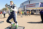 Feb 1, 2015; Glendale, AZ, USA; Seattle Seahawks fan Davis Strand poses for a photo before Super Bowl XLIX against the New England Patriots at University of Phoenix Stadium. The Patriots defeated the Seahawks 28-24.