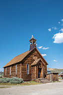 Exterior of Old Methodist Church at Bodie State Historic Park. Vertical, front and side view.
