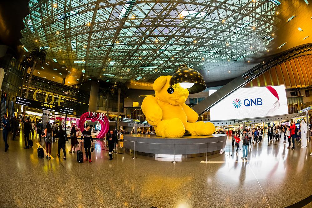 The Lamp Bear sculpture by artist Urs Fischer at Hamad International Airport, Doha, Qatar.